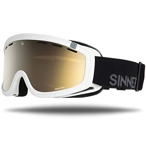 Sinner Skibrille Snowboard Brille UV Schutz Anti-Fog Skibrille fur Damen und Herren.Ski Goggle ist Skihelm kompatibel und besonders geeignet für Brillenträger. (Matte Weiß, Braun Gold Spiegel)