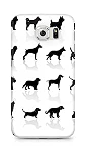 Amez designer printed 3d premium high quality back case cover for Samsung Galaxy S6 (Black Dogs)