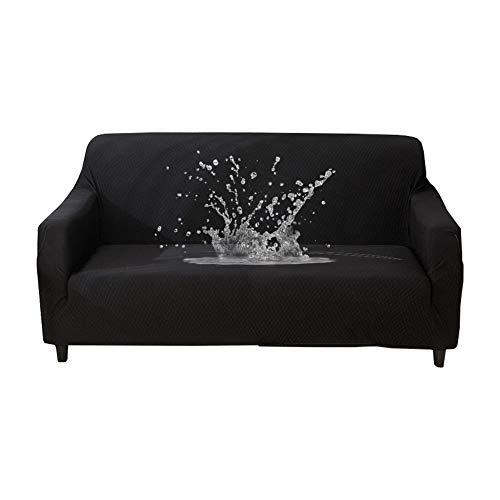 Hotniu 1-pezzo copridivano impermeabile elasticizzato fodera per divano jacquard in tessuto imbottito mobili antiscivolo sofa slipcover protettore, ideale per poltrone, divani (3 posti, nero)