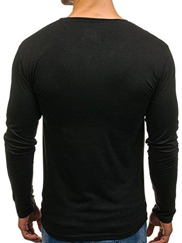 BOLF Herren Longsleeve Sweatshirt Langarm Pulli Figurbetont Farbwahl 1A1 MIX Schwarz_2088L