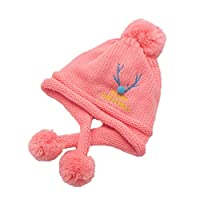 CHENPU Baby Knitted Hats Winter Warm Earflap Caps (Pink)