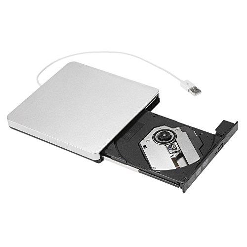 KKmoon Externe USB 2.0 DVD CD RW Brenner, Portable Ultra Dünner ROM Laufwerk, Spieler Antriebs Verfasser Rewriter für iMac / MacBook / MacBook Air / Pro Laptop PC Schreibtisch (Weiß)