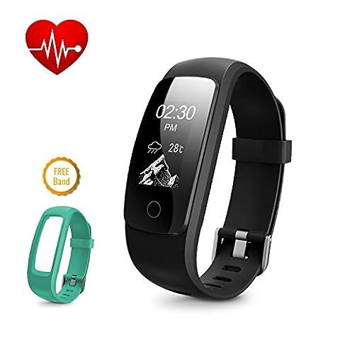 Fitness tracker de la fréquence cardiaque, DBPower IP67étanche Smart Bracelet avec suivi d'activité montre avec compteur de calories podomètre + montre bracelet de rechange pour Android et iOS, Black + Green
