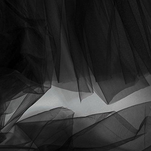 On Trend Fabrics Tüllstoff, sehr fein, weich, 150 cm breit, sehr zartes Netzgewebe, Meterware, für Abschlussball, Unterrock, Schleier, Schwarz -