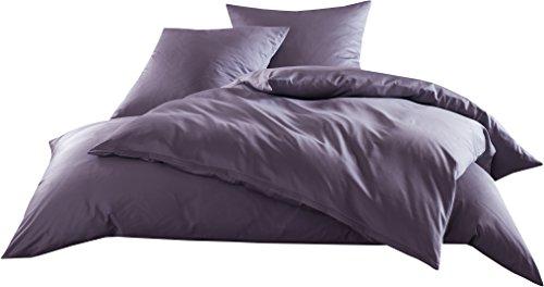Mako-Satin Baumwollsatin Bettwäsche Uni einfarbig zum Kombinieren (Kissenbezug 40 cm x 80 cm, Lila)