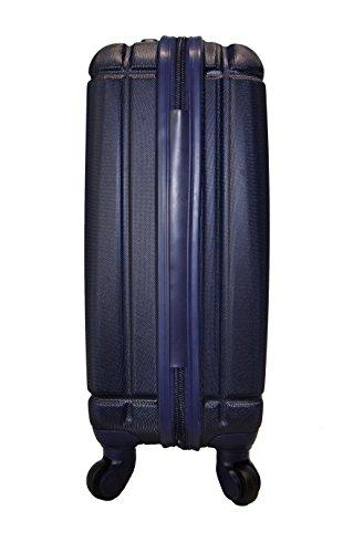5 Cities Leichtgewicht ABS Hartschale 4 Rollen Handgepäck Trolley Koffer Bordgepäck Kabinentrolley Reisekoffer Gepäck , Genehmigt für Ryanair , Easyjet , Lufthansa (Schwarz + Zweite-Tasche) 2 x Marine