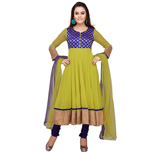 Global Girl Women's Net Lime Anarkali Salwar Kameez with Dupatta - Large