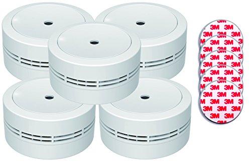 Jeising Mini Rauchmelder GS535 5er Set weiß mit Magnetklebebepad Magnetbefestigung 10 Jahres...