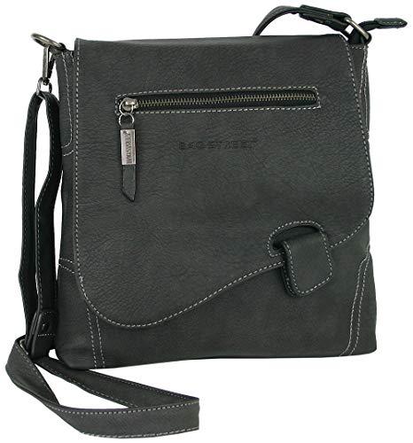 Schultertasche Handtasche (Handtasche Schultertasche UMHÄNGETASCHE Used Optik VON BAG STREET, Riegel (Matt-Schwarz))