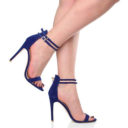 Sandali da Donna Tacco Alto a Stiletto Doppio Cinturnino Blu cobalto scamosciata