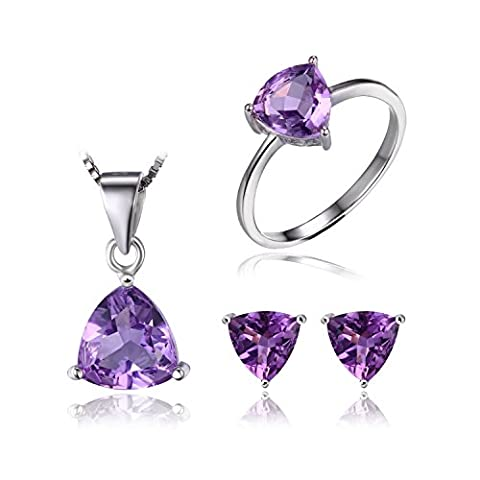 JewelryPalace Trillion 4.6ct Natural Purple Amethyst Birthstone Solitaire Jewelry Sets