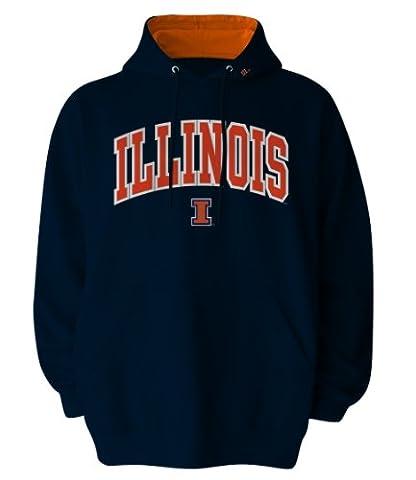 NCAA Men's Illinois Illini Hooded Sweatshirt (Navy, XX-Large)