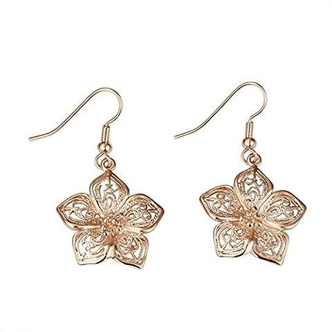 Style Target Ladies Earrings Rose Gold Earrings Skelettierte Flower 35mm