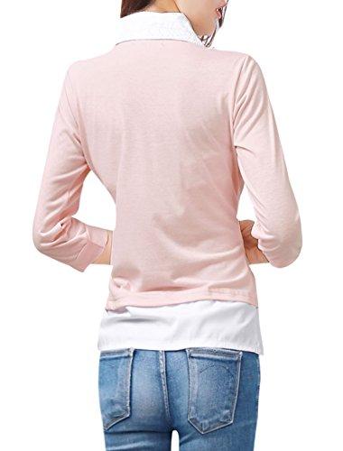 Allegra K Femme Faux 2 Pièces Haut À Volants Automne Blouses Décontracté Haut Pink White