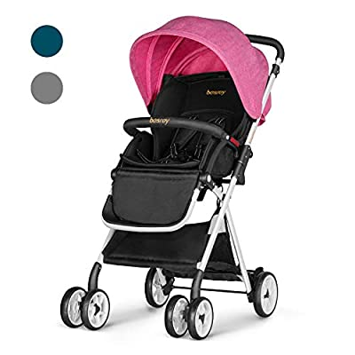 Besrey Folding Pushchair Baby Stroller Lightweight Infant Travel Buggy - Pink