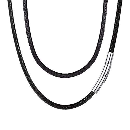 Damen Herren Hals-Kette Glatt Armband Leder Schwarz Kette geflochten, 3MM Breite