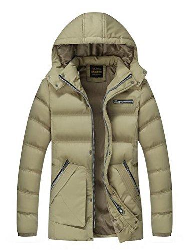 Vogstyle Herren Kapuzenparka Winterjacke Winter Mantel Jacket mit Futter Warm Abnehmbare Hoodie Parka Wintermantel Herrenmantel Art 3 Khaki
