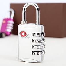DOCOSS TSA Approved 4 Digit USA Number Luggage Padlocks (Silver)