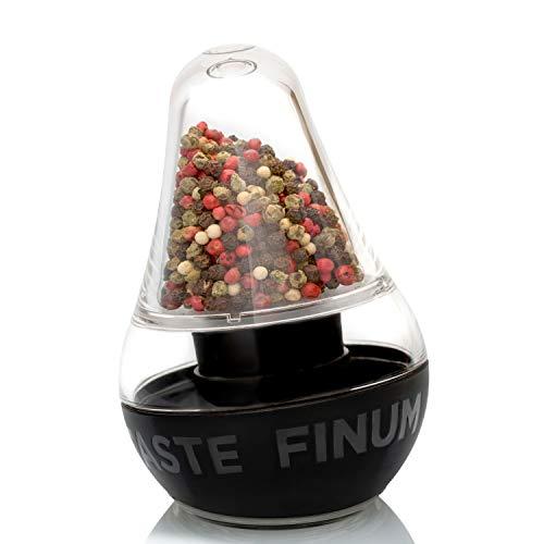 Finum LOOK TOUCH TASTE Pfeffermühle mit Keramikmahlwerk - Design Gewürzmühle für Salz & Pfeffer - Salzmühle -  in Schwarz-Transparent