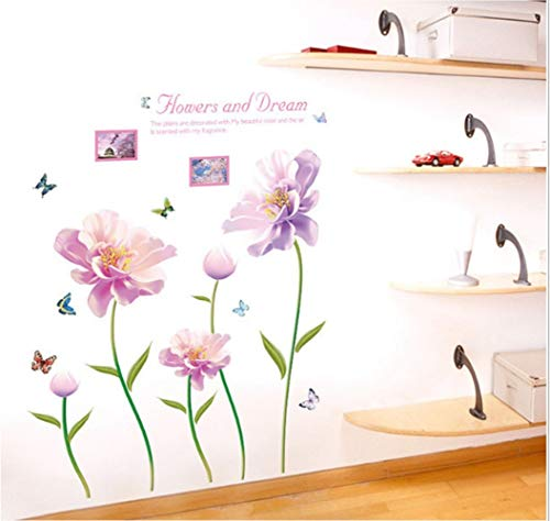 ZBYLL Wall Sticker rosa Blume Schlafzimmer Studie Flur Wohnzimmer Badezimmer TV Hintergrund Dekoration
