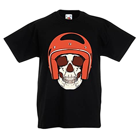 Funny t shirts for kids Moto Skull (3-4 years Black