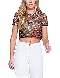 ISASSY Damen Casual Oberteile gesticktes Blumen T-Shirt bauchfrei Durchsichtig T Shirt