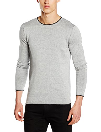 Selected Shnklop Crew Neck Noos, Pull Homme Gris (Papyrus)