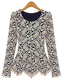 Coffetime-Damen Celebrity Elegantes Bodycon Spitze Langarm Tops Pullover Frauen Bluse Schößchen Rüschen Shirt