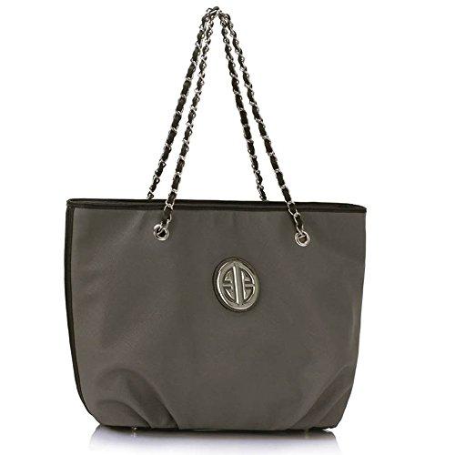 LeahWard® Damen Mode Essener Berühmtheit Schultertasche mit Kette Gurt Qualität Herrlich Handtaschen CWS00389 Grau