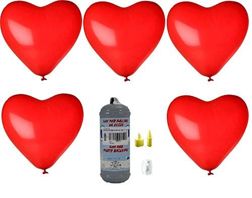 Helium Ballongas Einwegpatrone mit 10 roten Herzballons ø30 cm, Schwebezeit bis 8 Std.,Tragkraft: 4 g