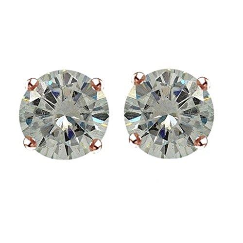 Lilu gioielli Moissanite 3mm, taglio brillante rotondo solitario orecchini con Spingere Argento 925finitura oro rosa (Taglio Rotondo Moissanite Solitaire)