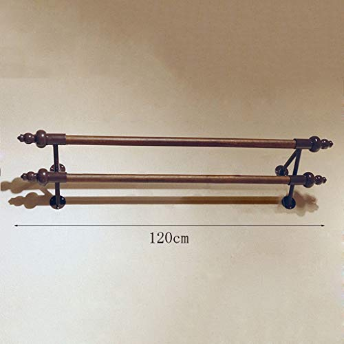 GYC Hölzerne Haushalts-Aufhänger, Wand-Aufhänger, festes Holz + Eisen-Retro- Kleidungs-Speicher-Ausstellungsstand-Doppel - Pole-Positive Kleidergestell-Wandregale Rack, Wand-Tür-Rückseiten-Mantel-ZAH -