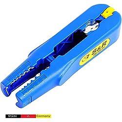 S&R Pince dénuder - Couteau à dégainer câbles électriques de diamètre 8-13 mm et section transversale 0,5-6,0 mm2 (AWG 20-10). Made in Germany