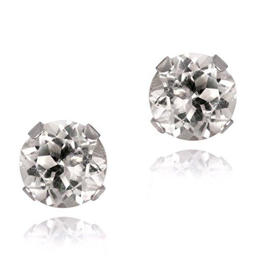 Bling para hombre 925 de plata de ley 5 mm redondas de diamante circonitas cúbicas (CZ) Juego de pendientes de tuerca - blanco/transparente - estilo Beckham