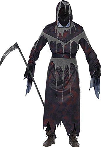 Reaper Grim Mit Maske Kostüm - Smiffy's 22883L Grim-Reaper-Kostüm mit Maske, L