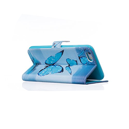 """Etsue Flip Case Handyhülle für iPhone 6 Plus/6S Plus 5.5"""" Leder Tasche Schutzhülle, Bunte Retro Muster Bookstyle Brieftasche Hülle Wallet Cover Handytasche mit Standfunktion Magnetverschluss Kredit Ka Blau Schmetterling,funkeln Sterne"""