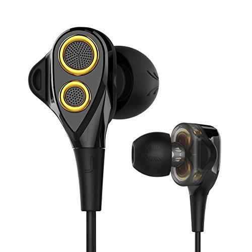 Uiisii t8 in-ear auricolari auricolari con i driver dual dynamic microfono controllo del volume super bassi profondi e riduzione del rumore per tutti i dispositivi con 3.5mm