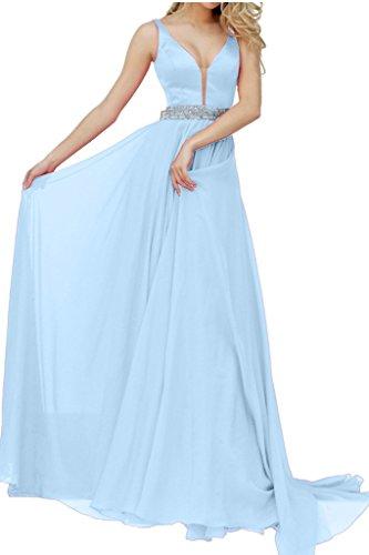 Promgirl House Damen 2016 Glamour V-Ausschnitt A-Linie Satin Chiffon Abendkleider Party Ballkleider Lang Hellblau
