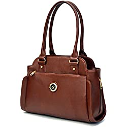 INKDICE Brown Women's Handbag Office Casual Purse Shoulder Bag