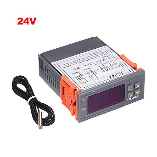 Decdeal Digitaler Temperaturregler Mini LED Heizung Kühlung Celsius Thermostat 2 Relais Ausgang mit Sensor -50 ℃ ~ 99 ℃ für Wassertanks, Kühlschränke, Kessel, Dampfgarer 12V/24V/110-220VAC (Optional)