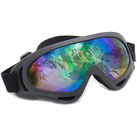Occhiali da sci UV400Multicolore, traspirante, Telaio Nero, anti UV Lenti rivestite, uso per inverno e sport outdoor, moto, ciclismo, trekking, guida e Riding By