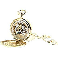 Engraving included - Gold plated on brass mechanical skeleton pocket watch sun and moon design