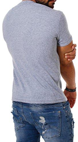 Young & Rich Herren Uni feinripp Basic T-Shirt tiefer runder V-Ausschnitt slimfit deep round V-Neck einfarbig 1874 Grau