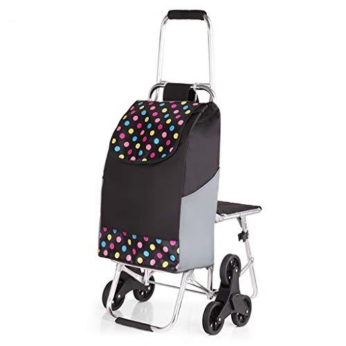 LHWLX Einkaufswagen Tri-falt Einkaufstrolley Treppensteiger Einkaufsroller mit Sitz mit 6 Rädern Faltbare Wasserdicht