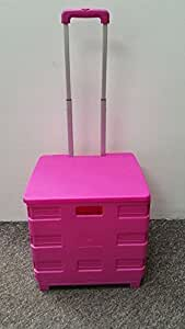 NEW PINK LARGE FOLDING SUPERMARKET GROCERY SHOPPING CAMPING BOOT TRUNK CART CRATE TROLLEY 35KG FOLDABLE + LID