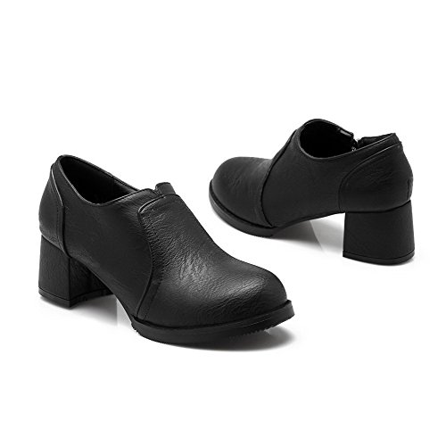 AllhqFashion Damen Rund Zehe Mittler Absatz Blend-Materialien Rein Ziehen Auf Pumps Schuhe Schwarz