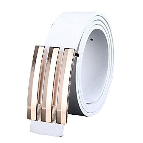 Leather belt ,Fulltime(TM) Men Women Automatic Buckle Leather Waist Strap Belts Buckle Belts (White)
