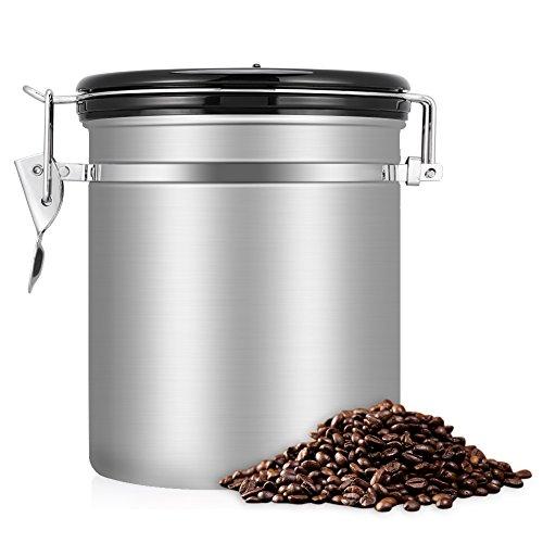 Bote para Café, EECOO Tarro de café 1.5L Bote Hermético de Acero Inoxidable Perfecto para Evitar la Oxidación del Café y la Aparición de Aromas Extraños, caucho sellado al vacío-Plata