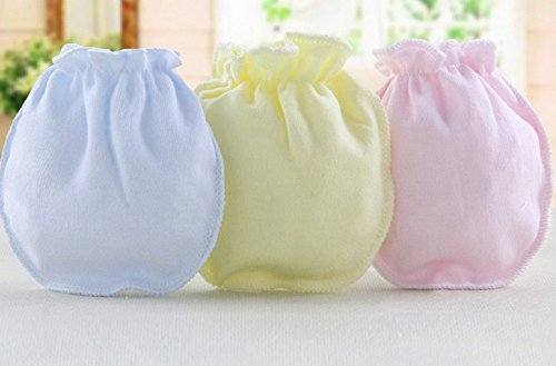 URAQT Baby Neugeborene Kratz Fäustlinge Baumwolle, Baby Kratzhandschuhe / Kratzfäustlinge / Kratzfäustel (3 Paar)