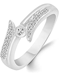 Classic Glittering Diamond Studded Rhodium Plated Alloy Cz American Diamond Finger Ring For Women & Girl [CJFR1276R]